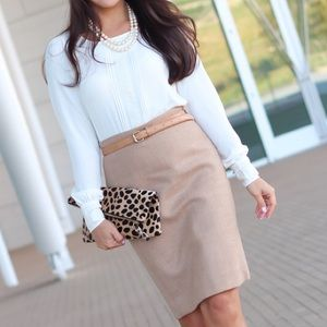 J. Crew No 2 Double Serge Wool Pencil Skirt Camel